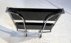 Restored mobile and foldable Art Deco serving trolley Black lacquer and Nickel - 1889079