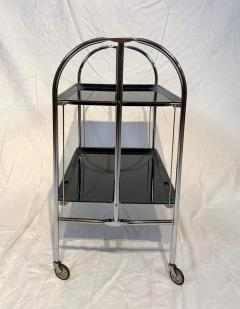 Restored mobile and foldable Art Deco serving trolley Black lacquer and Nickel - 1889081