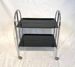Restored mobile and foldable Art Deco serving trolley Black lacquer and Nickel - 1889082