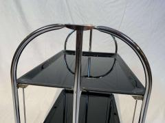 Restored mobile and foldable Art Deco serving trolley Black lacquer and Nickel - 1889083