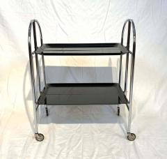 Restored mobile and foldable Art Deco serving trolley Black lacquer and Nickel - 1889084
