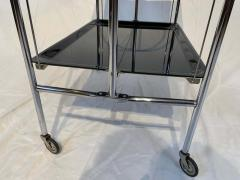 Restored mobile and foldable Art Deco serving trolley Black lacquer and Nickel - 1889085