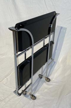 Restored mobile and foldable Art Deco serving trolley Black lacquer and Nickel - 1889086