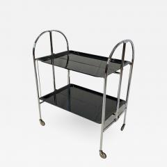 Restored mobile and foldable Art Deco serving trolley Black lacquer and Nickel - 1904964