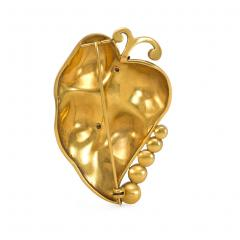 Retro 1940s Gold and Multi Gemstone Leaf Brooch - 1898354