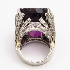Retro Amethyst and Diamond Cocktail Ring - 325444
