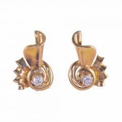 Retro Diamond 18K Rose Gold Earrings - 1953593