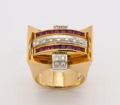 Retro Flip Ring Sapphire Ruby and Diamond 18K - 1534962