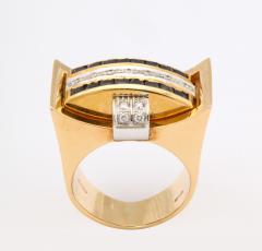 Retro Flip Ring Sapphire Ruby and Diamond 18K - 1534965