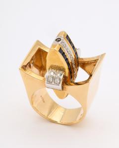 Retro Flip Ring Sapphire Ruby and Diamond 18K - 1534966
