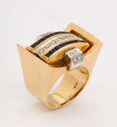 Retro Flip Ring Sapphire Ruby and Diamond 18K - 1534970