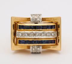 Retro Flip Ring Sapphire Ruby and Diamond 18K - 1534973