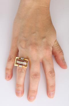 Retro Flip Ring Sapphire Ruby and Diamond 18K - 1536098