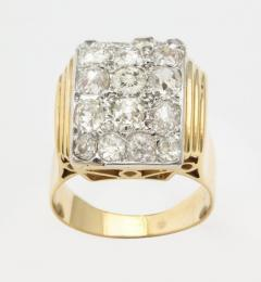 Retro French Gold Ring with a Cluster of Diamonds - 501632