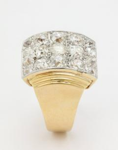 Retro French Gold Ring with a Cluster of Diamonds - 501633