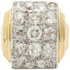 Retro French Gold Ring with a Cluster of Diamonds - 501634
