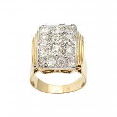 Retro French Gold Ring with a Cluster of Diamonds - 502121