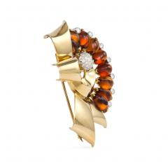 Retro Gold Citrine and Diamond Bow Ribbon Brooch - 1715419