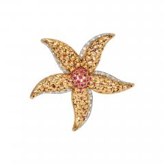 Retro Gold Ruby and Diamond Starfish Brooch - 1492772