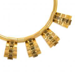 Retro Gold Torque with Citrine Set Pendants - 665658