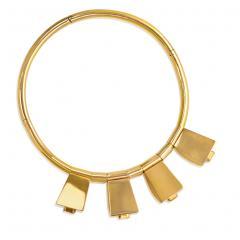 Retro Gold Torque with Citrine Set Pendants - 665659
