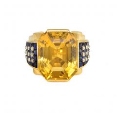 Retro Gold and Citrine Cocktail Ring with Sapphire and Diamond Shoulders - 716027