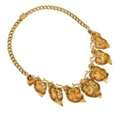 Retro Gold and Multi Gemstone Vine Leaf Necklace - 2039535