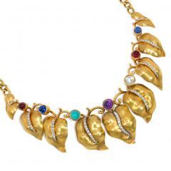 Retro Gold and Multi Gemstone Vine Leaf Necklace - 2039536
