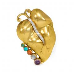 Retro Gold and Multi Gemstone Vine Leaf Necklace - 2039549