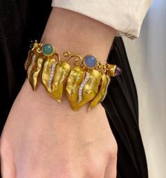 Retro Gold and Multi Gemstone Vine Leaf Necklace - 2039560