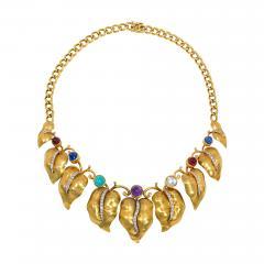 Retro Gold and Multi Gemstone Vine Leaf Necklace - 2040423