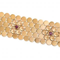 Retro Rose Gold and Ruby Bracelet with Raised Flower Clusters - 1019057