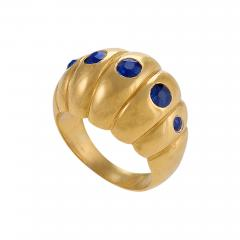 Retro Sapphire and Gold Scallop Ring - 1100505