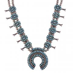 Reversible Turquoise Coral Squash Blossom Necklace - 2139403