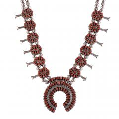 Reversible Turquoise Coral Squash Blossom Necklace - 2139404