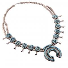 Reversible Turquoise Coral Squash Blossom Necklace - 2139405