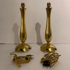 Riccardo Scarpa Pair of Polished Bronze Lamps by Scarpa France 1950s - 1752147