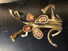 Richard Esabelle Faure Illuminated Butterfly Agate and Brass Coffee Table attr Jacques Duval Brasseur - 439869