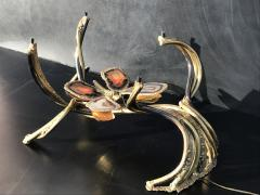 Richard Esabelle Faure Illuminated Butterfly Agate and Brass Coffee Table attr Jacques Duval Brasseur - 439872