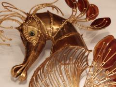 Richard Faure Pair of large sconces sculptures Seahorses  - 913852