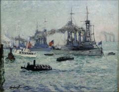 Richard Hayley Lever U S Battleships Down the Hudson 1912 Presidential Naval Review - 48056