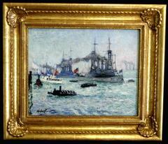 Richard Hayley Lever U S Battleships Down the Hudson 1912 Presidential Naval Review - 48057