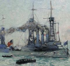 Richard Hayley Lever U S Battleships Down the Hudson 1912 Presidential Naval Review - 48058