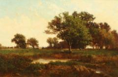 Richard Henry Fuller LANDSCAPE VIEW OF TREES IN A MEADOW - 1909677