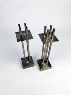 Richard Meier Nan Swid Design Stainless Steel Candlesticks - 1363169
