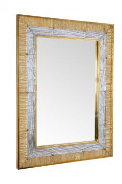 Ripple Mirror Ribbed Murano Glass in Gold and Clear on a Natural Brass Frame - 1455300