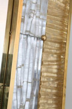 Ripple Mirror Ribbed Murano Glass in Gold and Clear on a Natural Brass Frame - 1455301