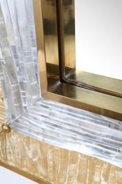 Ripple Mirror Ribbed Murano Glass in Gold and Clear on a Natural Brass Frame - 1455304