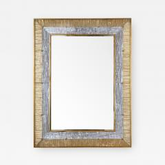 Ripple Mirror Ribbed Murano Glass in Gold and Clear on a Natural Brass Frame - 1475308