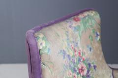 Rito Valla Pair of MidCentury armchairs attributed to Rito Valla fabric Fede Cheti purple - 1497438